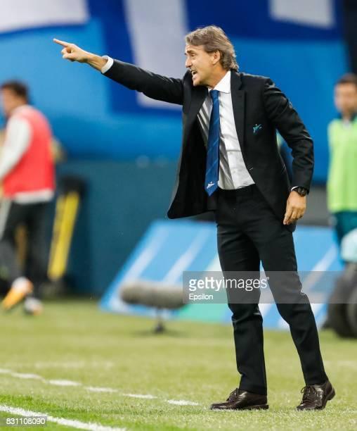 Zenit Saint Petersburg head coach Roberto Mancini gestures during the Russian Football League match between FC Zenit St Petersburg and FC Akhmat...