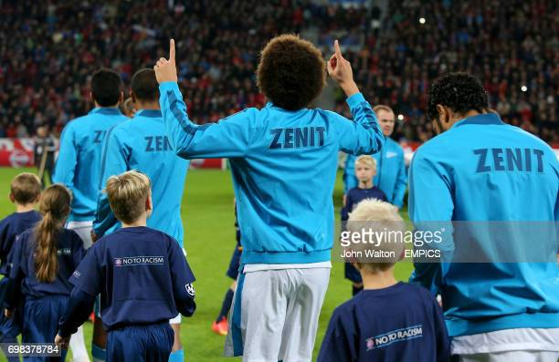 Zenit Saint Petersburg's Axel Witsel signals the heavens before the game