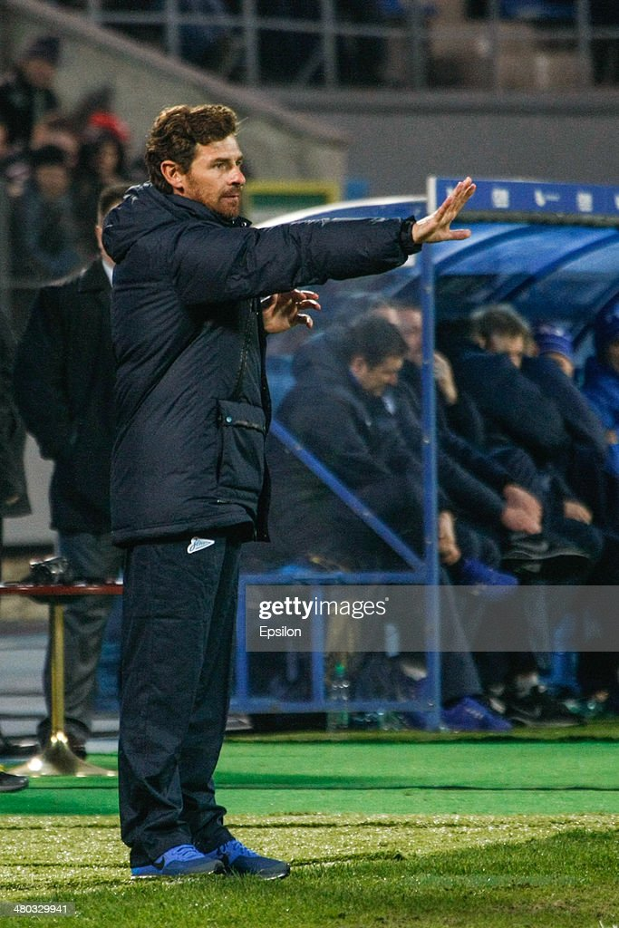FC Zenit St. Petersburg head coach Andre Villas-Boas gestures during the Russian Football League Championship match between FC Zenit St. Petersburg and FC Krylia Sovetov Samara at the Petrovsky stadium on March 24, 2014 in St. Petersburg, Russia.