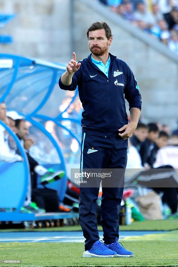 FC Zenit St. Petersburg head coach Andre Villas-Boas gestures during the Russian Football League match between FC Zenit St. Petersburg and FC Terek Grozny at the Petrovsky stadium on August 1, 2015 in St. Petersburg, Russia.