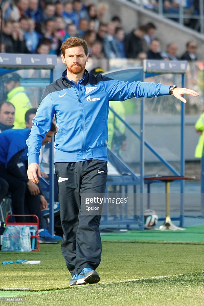 FC Zenit St. Petersburg head coach Andre Villas-Boas gestures during the Russian Football League Championship match between FC Zenit St. Petersburg and FC Volga Nizhny Novgorod at the Petrovsky stadium on April 26, 2014 in St. Petersburg, Russia.