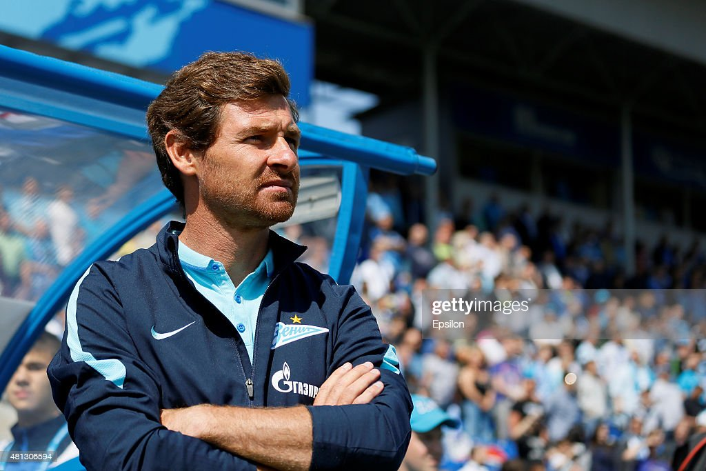 FC Zenit St. Petersburg head coach Andre Villas-Boas looks on during the Russian Football League match between FC Zenit St. Petersburg and FC Dinamo Moscow at the Petrovsky stadium on July 19, 2015 in St. Petersburg, Russia.