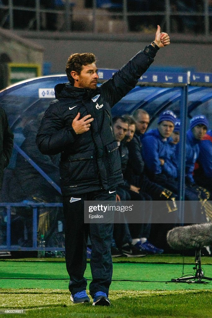 FC Zenit St. Petersburg head coach Andre Villas-Boas reacts during the Russian Football League Championship match between FC Zenit St. Petersburg and FC Krylia Sovetov Samara at the Petrovsky stadium on March 24, 2014 in St. Petersburg, Russia.