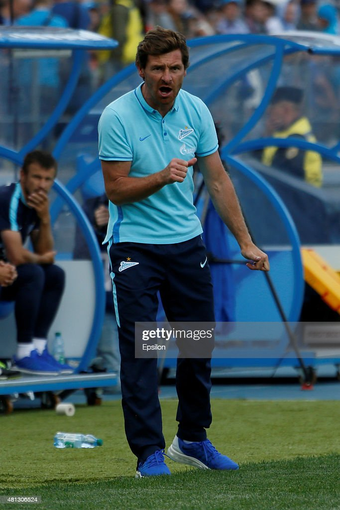 FC Zenit St. Petersburg head coach Andre Villas-Boas reacts during the Russian Football League match between FC Zenit St. Petersburg and FC Dinamo Moscow at the Petrovsky stadium on July 19, 2015 in St. Petersburg, Russia.