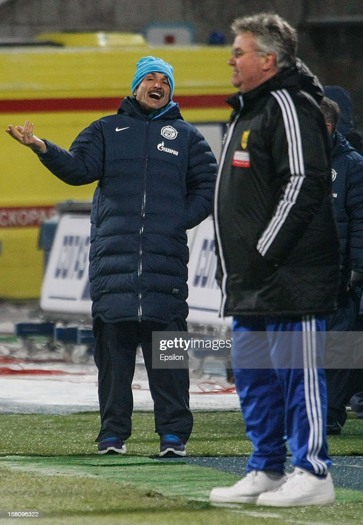 FC Zenit St. Petersburg head coach Luciano Spalletti (L) and FC Anzhi Makhachkala head coach <a gi-track='captionPersonalityLinkClicked' href=/galleries/search?phrase=Guus+Hiddink&family=editorial&specificpeople=214125 ng-click='$event.stopPropagation()'>Guus Hiddink</a> (R) look on during the Russian Premier League match between FC Zenit St. Petersburg and FC Anzhi Makhachkala at the Petrovsky Stadium on December 10, 2012 in St. Petersburg, Russia.