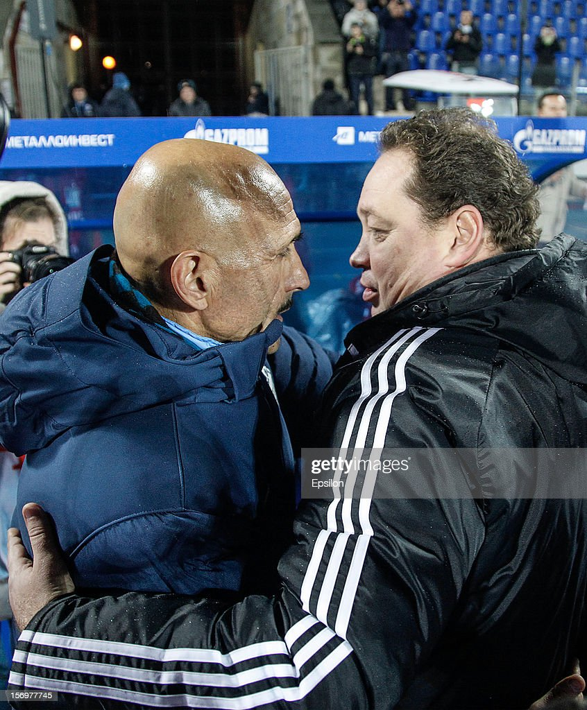 FC Zenit St. Petersburg head coach Luciano Spalletti (L) and PFC CSKA Moscow head coach Leonid Slutsky greet each other during the Russian Football League Championship match between FC Zenit St. Petersburg and PFC CSKA Moscow at the Petrovsky Stadium on November 26, 2012 in St. Petersburg, Russia.