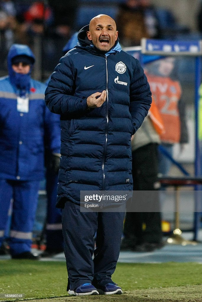 FC Zenit St. Petersburg head coach Luciano Spalletti gestures during the Russian Football League Championship match between FC Zenit St. Petersburg and FC Mordovia Saransk at the Petrovsky Stadium on March 17, 2013 in St. Petersburg, Russia.