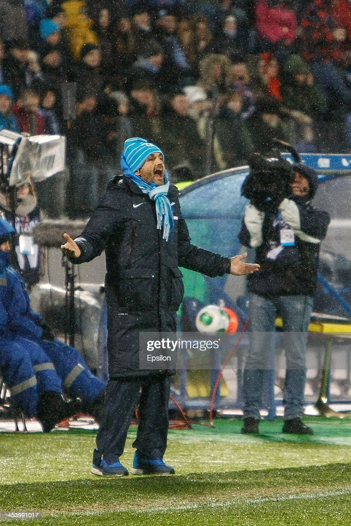 FC Zenit St. Petersburg head coach Luciano Spalletti gestures during the Russian Football League Championship match between FC Zenit St. Petersburg and FC Ural Sverdlovsk Oblast at the Petrovsky stadium on December 6, 2013 in St. Petersburg, Russia.