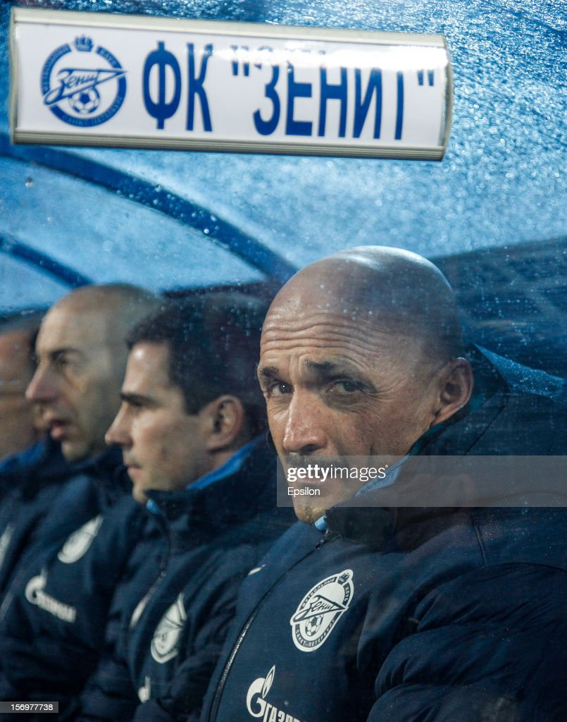 FC Zenit St. Petersburg head coach Luciano Spalletti (R) looks on during the Russian Football League Championship match between FC Zenit St. Petersburg and PFC CSKA Moscow at the Petrovsky Stadium on November 26, 2012 in St. Petersburg, Russia.
