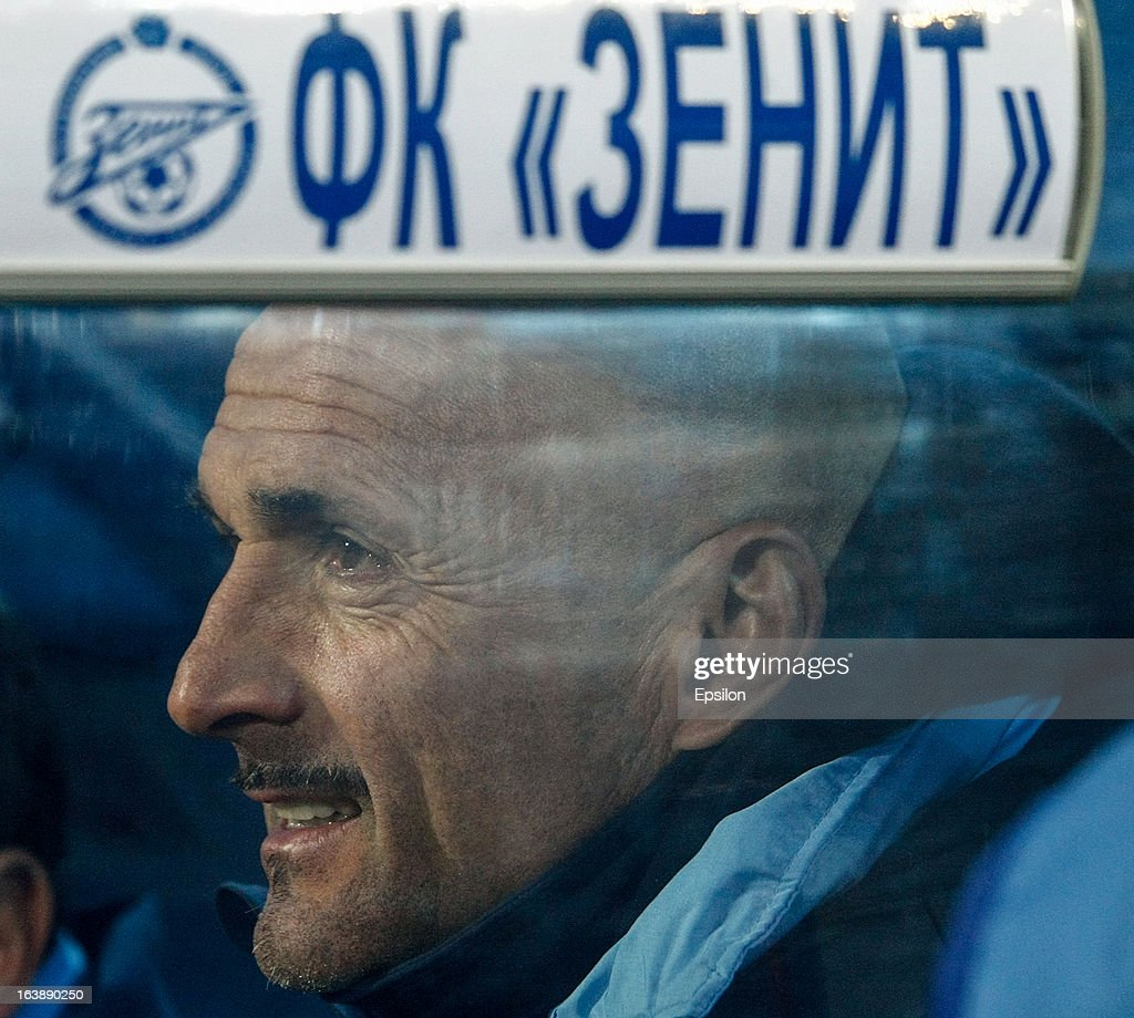 FC Zenit St. Petersburg head coach Luciano Spalletti looks on during the Russian Football League Championship match between FC Zenit St. Petersburg and FC Mordovia Saransk at the Petrovsky Stadium on March 17, 2013 in St. Petersburg, Russia.
