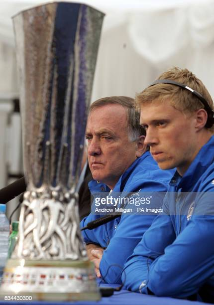 Zenit St Petersburg manager Dick Advocaat and Pavel Pogrebnyak during a press conference at City Of Manchester Stadium Manchester