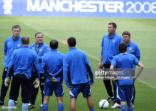 Zenit St Petersburg manager Dick Advocaat and players during a training session at City Of Manchester Stadium Manchester