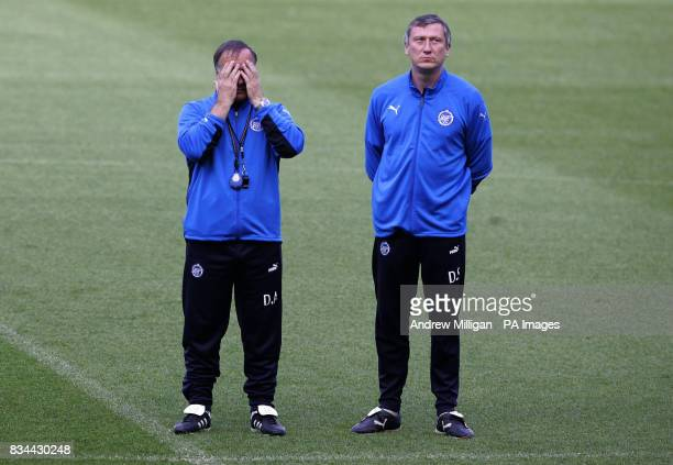 Zenit St Petersburg manager Dick Advocaat during a training session at City Of Manchester Stadium Manchester