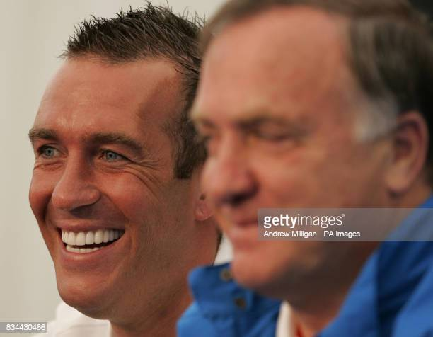 Zenit St Petersburg player Fernando Ricksen and manager Dick Advocaat during a press conference at City Of Manchester Stadium Manchester