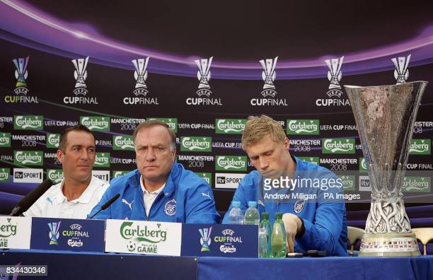 Zenit St Petersburg's Fernando Ricksen Dick Advocaat and Pavel Pogrebnyak during a press conference at City Of Manchester Stadium Manchester