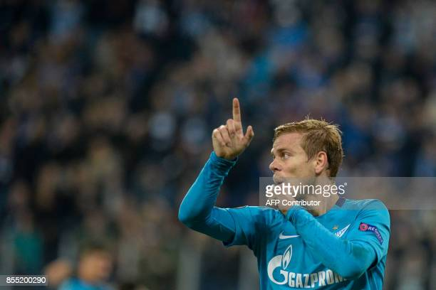 Zenit St Petersburg's forward from Russia Alexander Kokorin celebrates after scoring the team's third goal during the UEFA Europa League Group L...