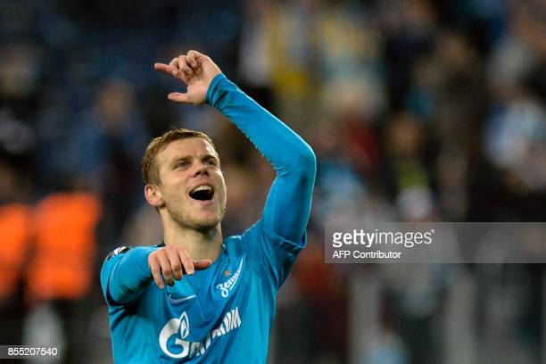 Zenit St Petersburg's forward from Russia Alexander Kokorin celebrates after the UEFA Europa League Group L football match between FC Zenit and Real...