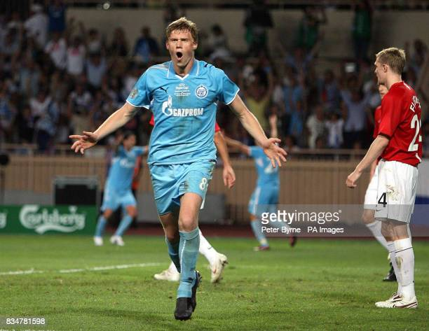 Zenit St Petersburg's Pavel Pogrebnyak celebrates scoring the opening goal against Manchester United during Super Cup at the Stade Louis II Monaco