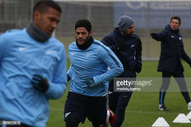 Zenit StPetersburg's Jose Salomon Rondon Hulk and Danny Miguel in action during a FC Zenit training session ahead of the UEFA Europa League match...
