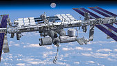 3D Rendering of the zenith side of the International Space Station flying above Earth, showing its detailed modular architecture. Elements of this image furnished by NASA.