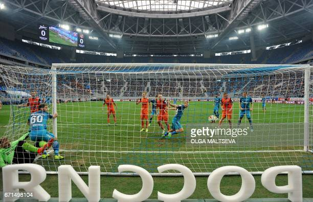 FC Zenith players score a goal during the Russian national championship football match between FC Zenit and FC Ural at the new 'Saint Petersburg'...