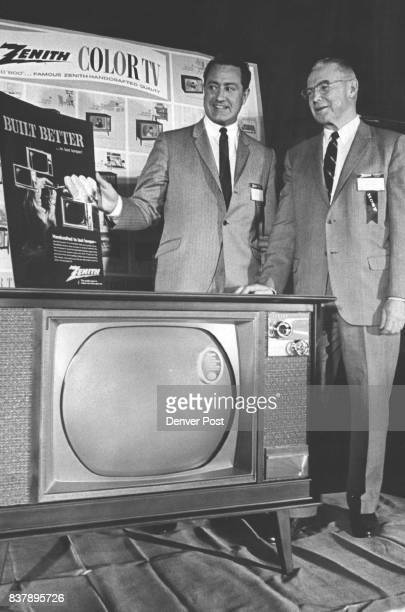 Zenith Shows Color TV JB Anger left national color TV merchandising manager for Zenith Sales Corp in Chicago Ill and WS Law president of McCollumLaw...