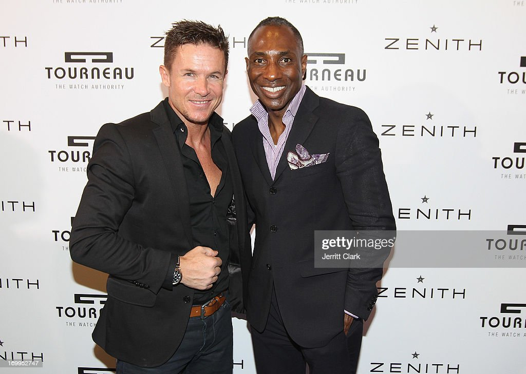 Zenith Watch Ambassador <a gi-track='captionPersonalityLinkClicked' href=/galleries/search?phrase=Felix+Baumgartner&family=editorial&specificpeople=787796 ng-click='$event.stopPropagation()'>Felix Baumgartner</a> (L) poses with Daryl Bowman of GQ Magazine at the Tourneau Concept Store on June 4, 2013 in New York City.