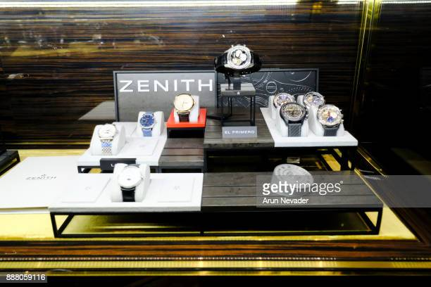 Zenith watches on display during the cocktail reception at Vagu on December 7 2017 in Miami Florida