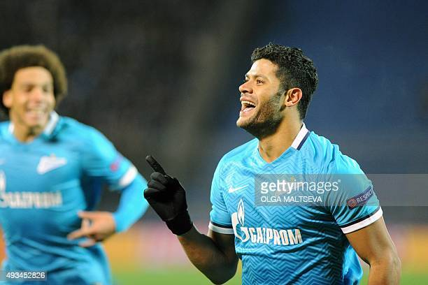 Zenit's Brazilian forward Hulk celebrates after scoring a goal during the UEFA Champions League group H football match between FC Zenit and Olympique...