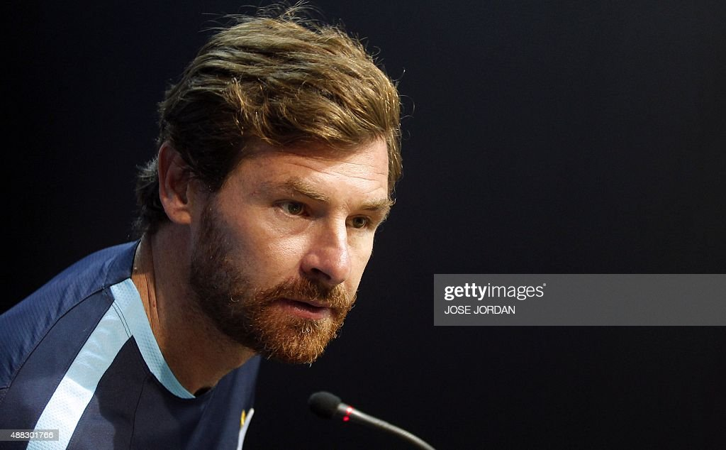 Zenit's coach Andre VillasBoas attends a press conference at Mestalla Satadium in Valencia on September 15 on the eve of the UEFA Champions league...