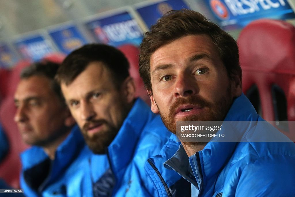Zenit's coach Andre VillasBoas from Portugal looks on during the UEFA Europa League round of 16 football match Torino Vs Zenit on March 19 2015 at...