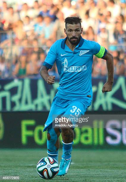 Zenit's Danny Miguel runs with the ball during the UEFA Champions League third qualifying round match between Zenit St Petersburg and AEL Limassol at...