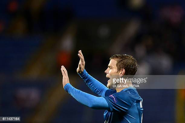 Zenit's forward Aleksandr Kokorin celebrates scoring a goal during the Europa League Group D football match between FC Zenit and AZ Alkmaar in Saint...