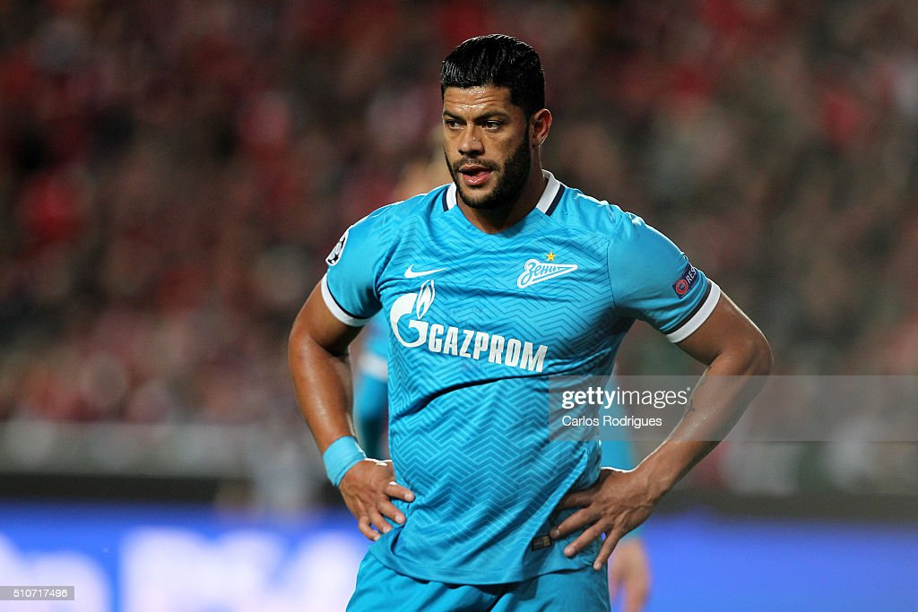 FC Zenit's forward <a gi-track='captionPersonalityLinkClicked' href=/galleries/search?phrase=Hulk+-+Soccer+Player&family=editorial&specificpeople=7359350 ng-click='$event.stopPropagation()'>Hulk</a> reacts losing the match between SL Benfica and FC Zenit for the UEFA Champions League Round of 16 First Leg at Estadio da Luz on February 16, 2016 in Lisbon, Portugal.