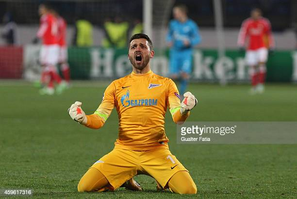 Zenit's goalkeeper Lodygin celebrates goal during the UEFA Champions League match between FC Zenit and SL Benfica at Stadion Petrovski on November 26...