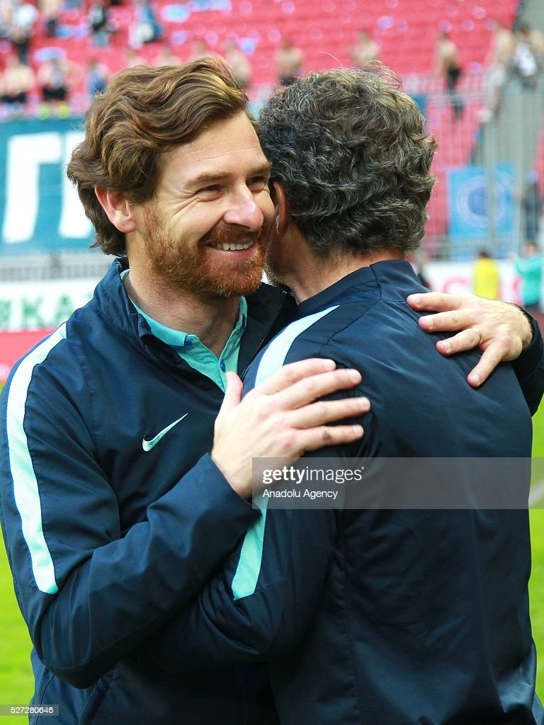 Zenit's head coach Andr�� Villas-Boas celebrate their victory with the trophy at an awards ceremony after winning in the 2015/16 Season Russia Cup final match between CSKA and Zenit at Kazan Arena in Kazan, Russia on May 2, 2016. FC Zenit won the game 4:1.