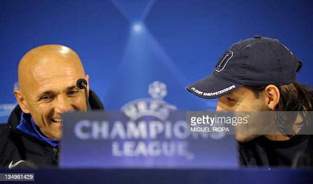 FC Zenit's Italian coach Luciano Spalletti and his player Portuguese forward Danny smile during a press conference on December 5 2011 at the Dragao...