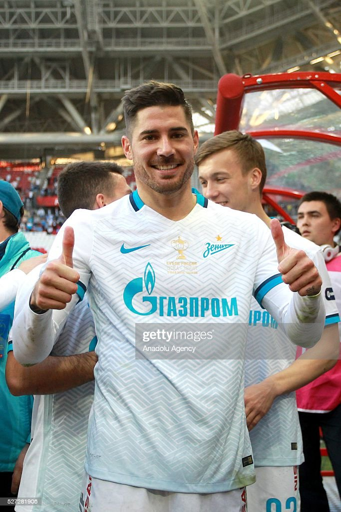 Zenit's Javi Garc��a celebrates their victory with the trophy at an awards ceremony after winning in the 2015/16 Season Russia Cup final match between CSKA and Zenit at Kazan Arena in Kazan, Russia on May 2, 2016. FC Zenit won the game 4:1.