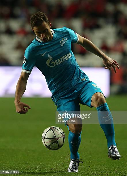 ZenitÕs midfielder from Brazil Mauricio in action during the UEFA Champions League Round of 16 First Leg match between SL Benfica and FC Zenit at...
