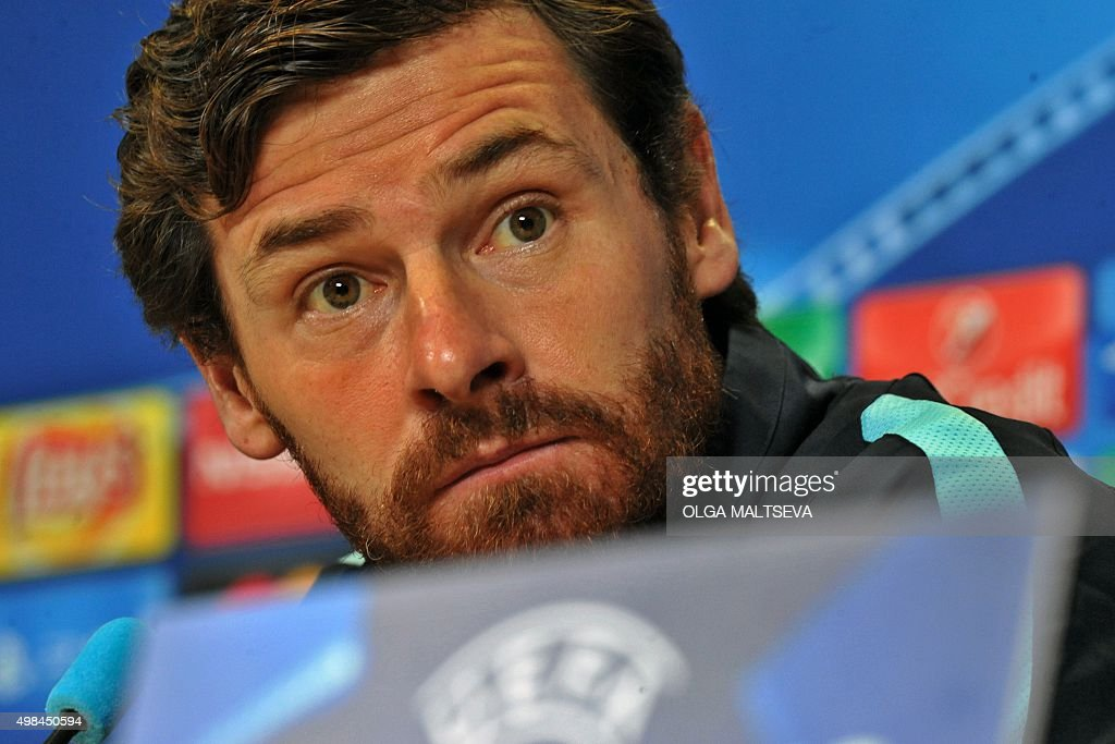 Zenit's Portuguese coach Andre VillasBoas attends a press conference at the Petrovsky stadium in St Petersburg on November 23 2015 on the eve of the...