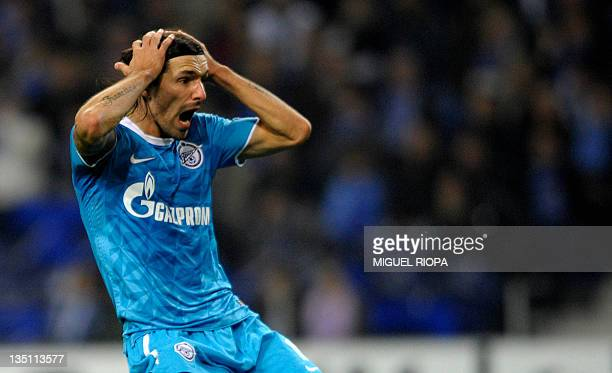 FC Zenit's Portuguese forward Danny reacts during the UEFA Champions League Group G football match between Zenit St Petersburg and FC Porto at the...