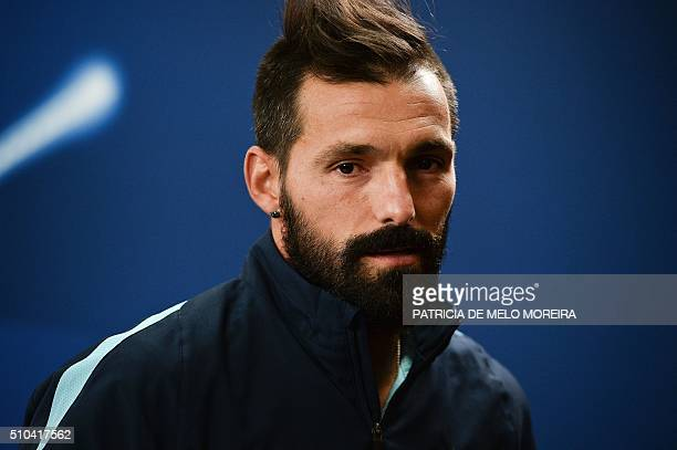Zenit's Portuguese midfielder Danny Gomes lookson during a press conference at Luz stadium in Lisbon on February 15 on the eve of the UEFA Champions...