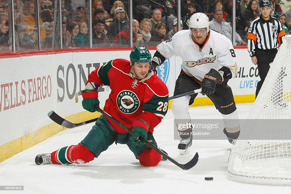Zenon Konopka #28 of the Minnesota Wild controls the puck from his knees while Teemu Selanne #8 of the Anaheim Ducks defends during the game on March 12, 2013 at the Xcel Energy Center in Saint Paul, Minnesota.