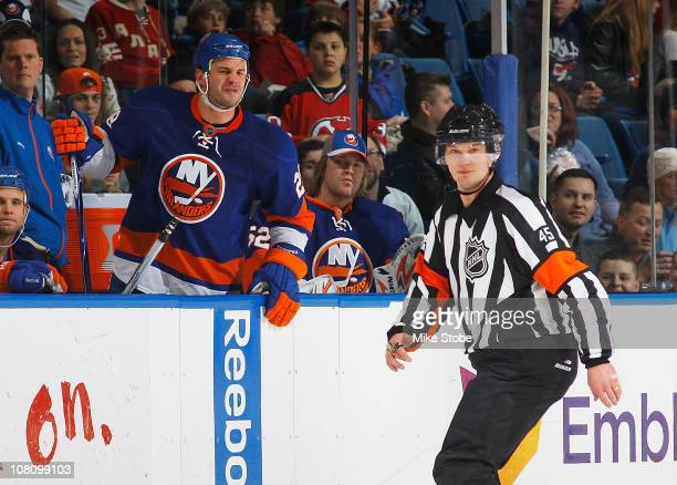 Zenon Konopka of the New York Islanders shows his displeasure with referee Marcus Vinnerborg after an Islander goal was disallowed against the New...