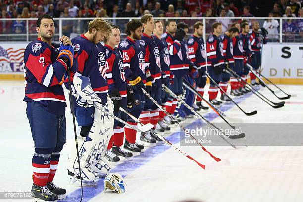 Zenon Konopka of the United States of America watches on duringthe anthems ahead of the 2015 Ice Hockey Classic match between the Unites States and...