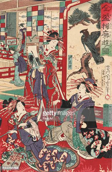Zensei kurabe kakuyu no zu 1876 Woodcut color 348 x 235 cm