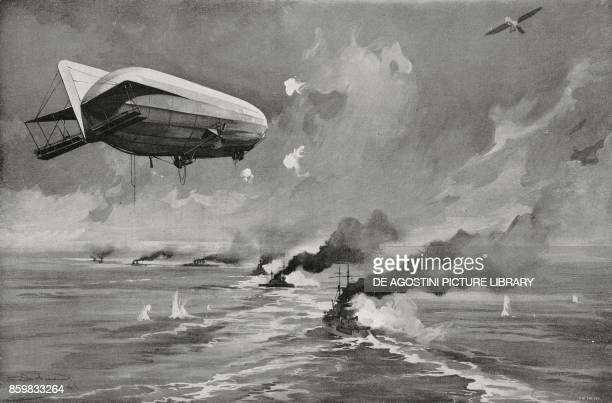 A Zeppelin following the British ships and hydroplanes that carried out the raid in Cuxhaven December 25 Germany World War I drawing by Aldo Molinari...