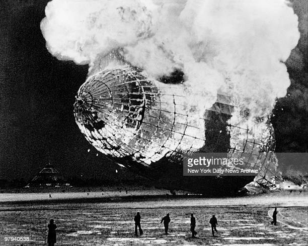 Zepplin disaster Lakehurst NJ Blazing wreck of the Hindenburg after explosion