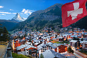 Famous Zermatt village with the peak of the Matterhorn in the Swiss Alps