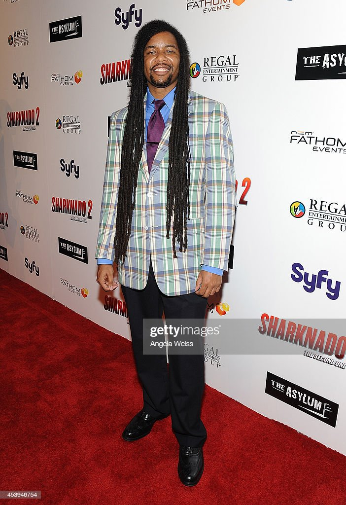 Zerzsez Thompson attends the premiere of The Asylum & Fathom Events' 'Sharknado 2: The Second One' at Regal Cinemas L.A. Live on August 21, 2014 in Los Angeles, California.